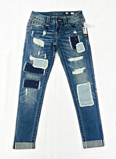 Miss Me Patch Work Cuffed Skinny Jeans from Chocolate Shoe Boutique
