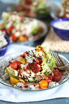 Loaded Iceberg Wedge Salad Recipe - The Suburban Soapbox Best Side Dishes, Side Dish Recipes, Dinner Recipes, Picnic Recipes, Picnic Ideas, Picnic Foods, Iceberg Wedge Salad, Wedge Salad Recipes, Greek Dinners
