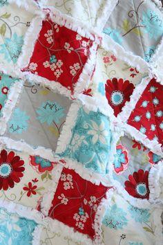 Baby Girl Minky Rag Quilt Seaside Cottage Red Aqua Gray Nursery Ready To Ship