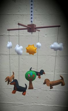 Felt Mobile - Dachshunds, tree, clouds and sun - dog mobile by ZillyGrilDesigns on Etsy