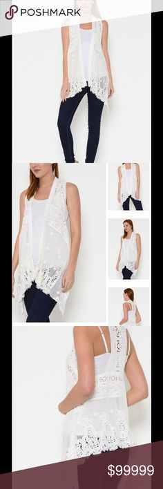 💕COMING SOON💕 COTTON LACE OPEN VEST Perfect for Spring and Summer!  This lightweight open vest is made with cotton lace and detailed with an asymmetrical hem. Tops