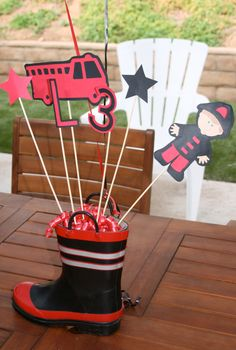 Fire Truck Fire Man Centerpiece Custom for by CreativeQueenBee, $9.75