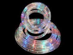 """20' Multi-Color LED Indoor/Outdoor Christmas Rope Lights by CC Christmas Decor. $24.99. 18 Foot Long Christmas Rope Lights Item #LED-DL-3W-20FT-1""""-110V-MProduct Features:Light color: blue, red, green and amberTube color: clear Spacing between each bulb: 1 inchLighted length: 20 feet Total length: 22 feetApproximate thickness: 0.5 inch diameter (13mm)Wire gauge: 18Additional Product Features:LED lights use up to 80% less energy Super bright, vibrant colored bulbs Bul..."""