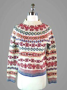 J CREW Hand-knit FAIR ISLE Geo Boho Hippie Hipster Sweater 100% Lambs Wool S #Handmade #Crewneck