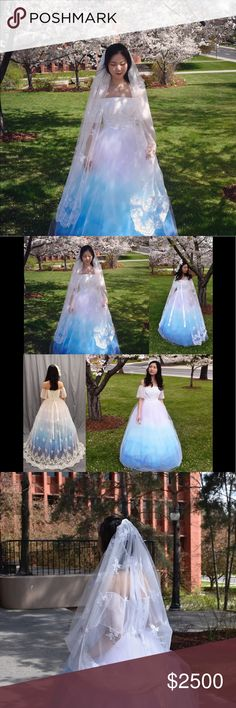 Ombré lace off shoulder ball gown wedding dress Hi, just wanna let you guys know that I am a Apparel Designer for almost 2 years now.This is a piece that I design and handmade! I named it Thumbelina.This wedding dress will be in my senior collection fashion show on April 6th 2018, after that this dress will be ready to ship! The back of the dress is lace up I will post the measurement if you are interested! It is more towards a size 4! This dress has a lace veil that can be use as a veil, a…