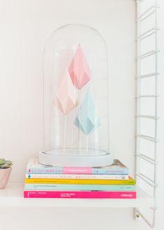 papieren kristallen in HEMA-stolp, by zilverblauw.nl