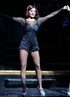She has morphed into the role of Roxie Hart for the Broadway musical, Chicago. On Tuesday, Mel B, looked glamorous during the show's curtain call at the Ambassador Theatre in New York City. Roxie Hart, Dancer Legs, Broadway Stage, Fishnet Tights, America's Got Talent, Spice Girls, Punk, Celebrities, Hot