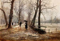 "Ogród Saski"" The Saxon Garden in Warsaw, 1887 Ignacy Aleksander Gierymski Russian Painting, Russian Art, City Landscape, Winter Landscape, Wind And Rain, Garden Park, European Paintings, Western Art, Warsaw"