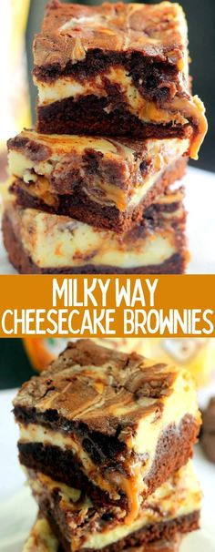 Milky Way Cheesecake Brownies are full of cheesecake and dripping with ooey-gooey caramel! These will be a hit at your next party! Easy No Bake Desserts, Köstliche Desserts, Great Desserts, Delicious Desserts, Dessert Recipes, Yummy Food, Bar Recipes, Health Desserts, Baking Recipes