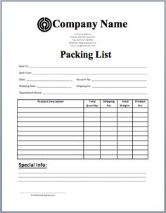 packing list template for excel