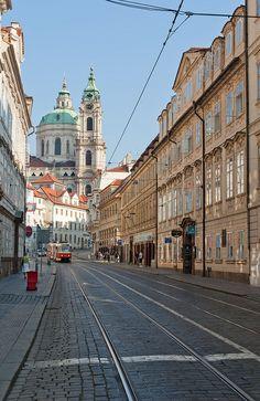 Prague Tramway in Mala Strana (St Nicholas Cathedral), Czech Republic