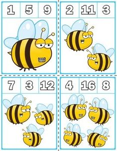 $1.25 | Teach counting skills with Spring Bees! Great for teaching 1:1 counting skills and number recognition for numbers 1-20. Quick prep game great for math centers!  #preschool #preschoolers #preschoolactivities #kindergarten #Homeschooling #mathcenters #spring