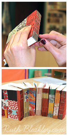 colorful longstitch journals in a #bookbinding class taught by Ruth Bleakley