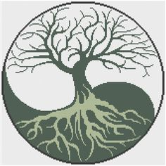 Yin-Yang Tree Of Life Counted Cross Stitch Pattern X-Stitch