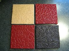 Felt coaster with ceramic tile base tan red brown by truekarisma, $6.00