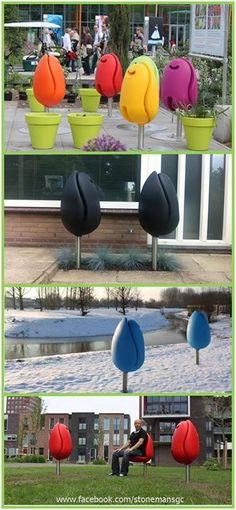 Have a look at these fantastic Tulip Seats for public spaces created by Tulpi-design - a Dutch design studio with a flair for quirky, innovative and playful design.   Tulpi-seats have been �planted� all over the world and their popularity continues to �grow�. Wouldn't it be great if our councils put some in our public spaces - Colourful, functional, convenient! Pretty cool! :)