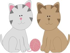cat clip art | Cat Friends - two cat friends, one gray cat and one brown cat…