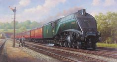 The Elizabethan, one of the Mallard type Engines that set the World speed record for a steam train. Nostalgic Pictures, Train Art, Thing 1, Water Tower, Mallard, Steam Engine, Steam Locomotive, Train Tracks, Travel Posters