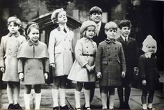 Miss Honoria Glossop via royalkents:  Little Windsors from left to right: James Ogilvy, Lady Sarah (Armstrong-Jones) Chatto, Earl of St Andrews, Lady Helen  (Windsor) Taylor, Prince Andrew, Prince Edward, Lord Linley and Marina (Ogilvy) Mowatt.