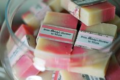 Homemade soaps for baby shower idea.