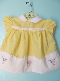 Vintage Baby Girl Yellow Dress by TheAquaNest on Etsy, $13.00