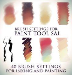 Brush settings for Paint tool SAI by SirWendigo on @DeviantArt