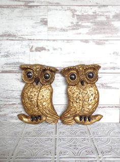 Arnel Owl Pair of Figurines quirky Vintage Wall by sorrythankyou79