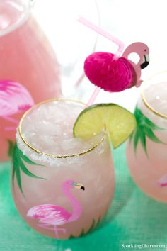 """Let's Flamingle Friends! This pretty pink drink is perfect for a sunny day and your favorite """"GIRL GANG! Party Drinks Alcohol, Liquor Drinks, Fancy Drinks, Alcoholic Drinks, Beverages, Bourbon Drinks, Classic Cocktails, Summer Cocktails, Cocktail Drinks"""