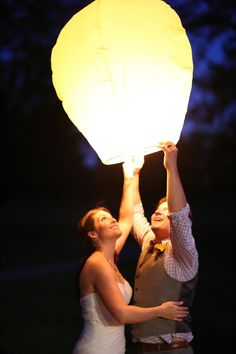 Lantern wedding send off at an Iowa Country wedding