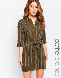 Image 1 ofNew Look Petite Stripy Shirt Dress