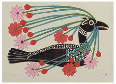 Courting Loon, by Kenojuak Ashevak (Inuit Artist), 2008 -- Lithograph Arte Inuit, Inuit Art, Native Art, Native American Art, Illustrations, Illustration Art, Street Art, Art Premier, Motifs Animal