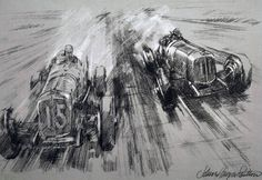 Brooklands Trophy Race pencil drawing.