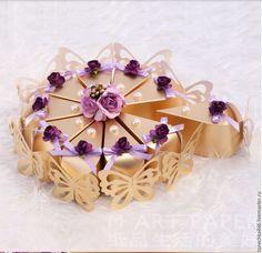 Купить бумажный торт с пожеланиями - комбинированный, бонбоньерки на свадьбу, бонбоньерка, торт с пожеланиями, подарок