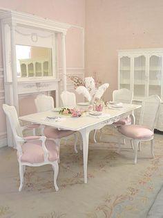 Pink Shabby Chic Dining Room. LOVE!! Haha...I think we need a tea room!