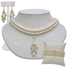 Alyssa wedding jewelry sets chandelier pearl crystal $169 @ silverlandjewelry.com