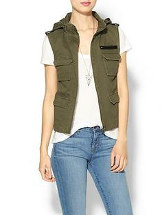 Hive & Honey Andie Military Hooded Vest | Piperlime $59 I like this one because it's plain, simple, and though the lining is poly the outside is cotton.