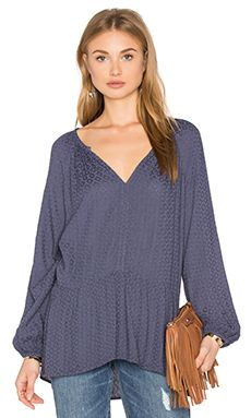 Velvet by Graham & Spencer Dahl Long Sleeve Bottom Ruffle Blouse in Shower