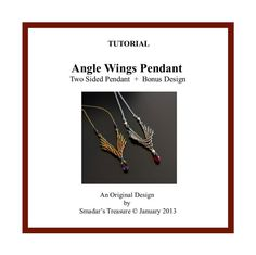 Beading Tutorial, Angel Wings - Reversible Pendant.Beading Pattern with Seed Beads and Crystals.  Beadweaving Instructions, PDF File Pattern