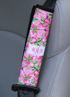 Seat Belt Cover Monogrammed Personalized Custom Preppy Floral Lilly Inspired Cute Car Accessories for Women Seatbelt Cover Seat Belt Pad by ChicMonogram on Etsy