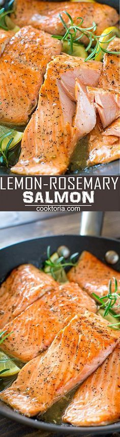 Flaky salmon cooked to perfection in rich Lemon Rosemary sauce. Ready in 15 minutes!COM Flaky salmon cooked to perfection in rich Lemon Rosemary sauce. Ready in 15 minutes! Fish Recipes, Seafood Recipes, Dinner Recipes, Cooking Recipes, Healthy Recipes, Recipies, Easy Salmon Recipes, Healthy Dishes, Meal Recipes