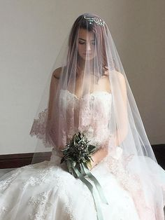 Bridal Veil Blush Drop Veil Chantilly Lace by EdenLuxeBridal
