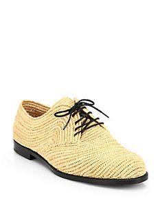 Bottega Veneta Woven Raffia Lace-Up Oxford Shoes