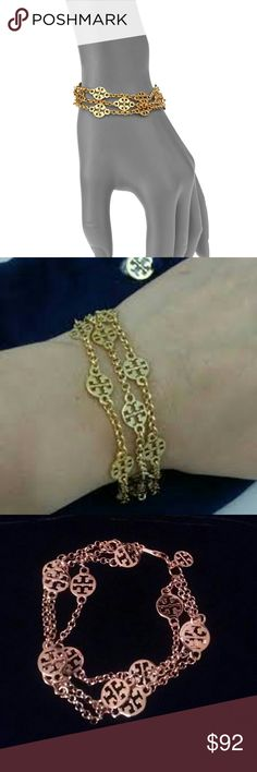 """NWOT Tory Burch Three-strand gold plated bracelet Absolutely gorgeous...and oh so chic! There is a reason why everyone loves this Tory Burch and this bracelet is one of them!   Three-strand bracelet is plated is 16-karat yellow gold. Which gives for great shine and a nice quality weight. Rolo chains with signature Tory Burch double T logo stations. Features a lobster clasp. Measures 7 1/2"""" in length.  Brand New. Never worn, but no tags etc. Authentic Tory Burch. Bundle with matching necklace…"""