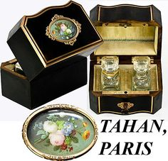 Antique French TAHAN Scent Caddy, HP Miniature, Perfumes - Complete with original bottles inside. Tahan, Paris