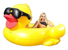NEW-Giant-Inflatable-Pool-Floating-Riding-Derby-Duck-Cup-Holder-Party-Sea-Fun