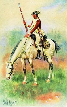 2nd Connecticut Light Horse (Militia) Cpt James Green's troop under Maj Elijah Hyde's squadron attached to the American Army under General Gates. Uniform: Felt hats with an iron crown piece inside as protection from saber cuts; brown coats faced with buff, waistcoats and breeches of coarse white linen, white wool stockings, short black leather gaiters. Arms: Saber, pistols and carbine hung from a shoulder belt of white buff-leather; the carbine also had a holster on the right side of the…