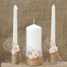 Wedding Unity Candle Set, Rustic Wedding Bridal Candle, Hessian and Lace Bride and Groom Unity Burlap Candles Wedding Together This Beautiful Bride Unity Candle Set is perfect for your rustic wedding, Wedding Sets, Chic Wedding, Rustic Wedding, Wedding Country, Country Weddings, Wedding Cakes, Rustic Groom, Wedding Unity Candles, Diy Candles