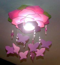 Fotos de Lustre Flor Yasmin c móbile de borboletas - decoração de quarto de meninas, bebe Uberlândia