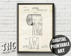 This item is unavailable Toilet Paper Art, Paper Wall Art, Toilet Paper Patent, 40th Birthday Cards, Frame Display, Patent Prints, Bathroom Wall Decor, Frame It