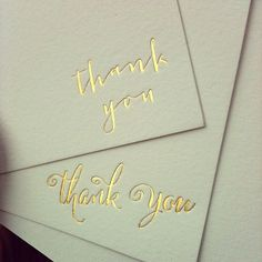 Two new #goldfoil thank you cards coming to my Etsy shop (link in profile) soon! #supershiny #hotfoil #thankyoucards #wedding #foilstamping
